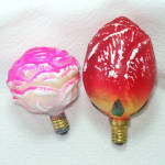 Click here to enlarge image and see more about item 12064-2: Rose, Rosebud Figural Glass Christmas Light Bulbs