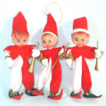 3 Japan Poseable 1960s Christmas Pixie Elf Ornaments Figures