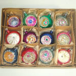 Box 1950s Poland Fantasia Indent Glass Christmas Ornaments