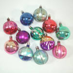 Click to view larger image of Box 1950s Poland Fantasia Indent Glass Christmas Ornaments (Image3)