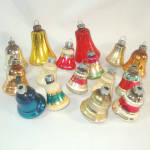 Click here to enlarge image and see more about item 12080: 16 USA Made Mid Century Glass Bell Christmas Ornaments