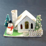 Beaded Mica Putz Christmas Village House Spun Cotton Snowman