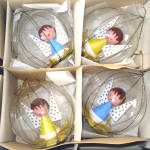 Box Dome Scene Blown Glass Wire Wrap Christmas Ornaments Angels Inside