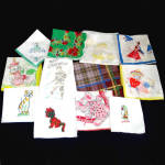 Click here to enlarge image and see more about item 12099-3: Lot 12 Assorted Child Hankies Handkerchiefs