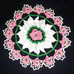 Click here to enlarge image and see more about item 12115: Pink and White 16 Inch Round Crochet Roses Doily