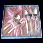 Click here to enlarge image and see more about item 12116-2: South Seas Oneida Silverplate Boxed Baby Youth Flatware Set