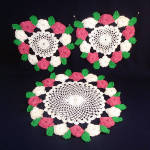 Click here to enlarge image and see more about item 12116: Set 3 Pink White Green Layered Rose Crochet Doilies