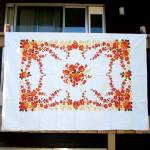 Click here to enlarge image and see more about item 12130-2: Orange Flowers Mid Century Cotton Twill Tablecloth 72 by 54