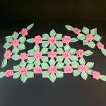 Click here to enlarge image and see more about item 12135: Pink Green Roses Crochet Antimacassar Chair Doily Set
