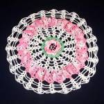 Click here to enlarge image and see more about item 12136: Crocheted Lacy Rose Pink and White Ruffled Doily