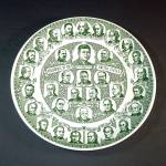Click here to enlarge image and see more about item 12142: Green Transferware Presidents of the United States Plate Circa 1961
