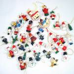 Lot 37 Miniature Painted Wood Christmas Ornaments