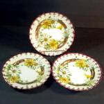 Click here to enlarge image and see more about item 12159: 3 Gold Enameled Fancy Daisy Cake Plates, 1920s Japan