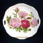 Click here to enlarge image and see more about item 12180: Handled Porcelain Plate With Shabby Pink, Red Roses