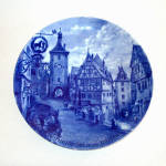 Click here to enlarge image and see more about item 12181: Rothenburg Bavaria Blue White Souvenir Collector Plate by Kaiser