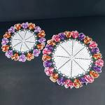 Click here to enlarge image and see more about item 12193-2: 2 Crocheted Ruffled Pansy Flower Doilies