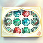 Click to view larger image of Box Shiny Brite Small Stencil, Stripes Glass Christmas Ornaments (Image1)