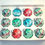 Click to view larger image of Box Shiny Brite Small Stencil, Stripes Glass Christmas Ornaments (Image2)