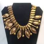Click here to enlarge image and see more about item 12239: 1940s Modernist Brass Leaf and Baton Bib or Fringe Necklace