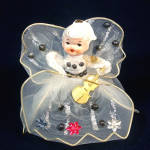 Click here to enlarge image and see more about item 12241: Christmas Wired Tulle Ponytail Angel Figurine Porcelain Head