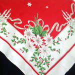 Click to view larger image of White Poinsettias, Candles 1950s Christmas Tablecloth (Image2)