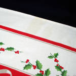Click to view larger image of White Poinsettias, Candles 1950s Christmas Tablecloth (Image3)