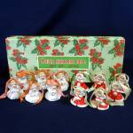 Click here to enlarge image and see more about item 12278-3: Box 1950s Tiny Porcelain Angel Bell Christmas Ornaments