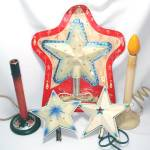 Star Christmas Tree Toppers and Electric Candolier Lot