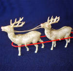 Click to view larger image of 1930s Celluloid Christmas Santa, Sleigh, Reindeer Toy (Image4)
