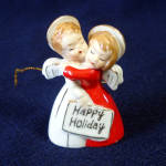 Click here to enlarge image and see more about item 12296-2: Ardalt 1950s Hugging Angels Porcelain Bell Christmas Ornament