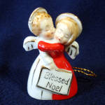 Click here to enlarge image and see more about item 12296-2A: Ardalt 1950s Hugging Angels Porcelain Bell Christmas Ornament