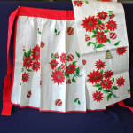Click here to enlarge image and see more about item 12296-3: Parisian Prints Linen Christmas Apron and Towel Mint