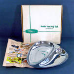 Click here to enlarge image and see more about item 12314-2: Milbern Mid Century Chrome Double Tear Drop Serving Dish in Box