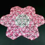 Click here to enlarge image and see more about item 12319-2: Large 26 Inch Pink White Green Crocheted Doily