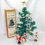 Click here to enlarge image and see more about item 12328-2: Santas Workshop 1960s Pixie Tinsel Tabletop Christmas Tree Set Boxed