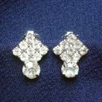 Click here to enlarge image and see more about item 12329: Petite Rhinestone Tilted Square Clip Earrings