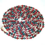 Click here to enlarge image and see more about item 12330-3: Red Silver Blue Patriotic Mercury Glass Bead Christmas Garland