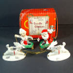 Christmas Mr Mrs Santa With Reindeer Candle Holder Climbers Set