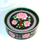 Click here to enlarge image and see more about item 12386: Crawford Pink Peonies on Black English Biscuit Tin