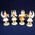 4 German Erzgebirge Musical Angel Carved Wood Christmas Ornaments