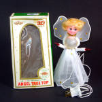 Click here to enlarge image and see more about item 12422: Angel Doll Wired Tulle Boxed 1960s Lighted Christmas Tree Topper