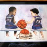 Click to view larger image of Special Delivery Utah Jazz Stockton Malone Basketball Framed Print (Image2)