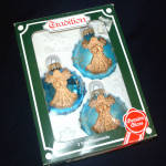 Box 1980s German Blue Glass Christmas Ornaments Applied Angels