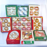 Click here to enlarge image and see more about item 12498: Nine Boxes Glass Christmas Ornaments Circa 1980