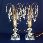 Pair 1950s Waterfall Crystal Prism Table Lamps