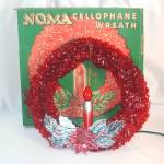 Noma Christmas Lighted Cellophane Halo Candle Wreath Original Box