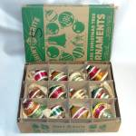 Box 12 Eames Era Shiny Brite UFO Sputnik Shape Christmas Ornaments