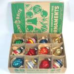 Click here to enlarge image and see more about item 12562: Box 1940s Shiny Brite Small Shapes Glass Christmas Ornaments