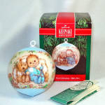 Click here to enlarge image and see more about item 12571: Hallmark 1991 Boy Baby's First Christmas Satin Ornament
