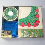 Click here to enlarge image and see more about item 12574: 1960s Retro Party Tableware Kit Unused Napkins, Coasters, Matches